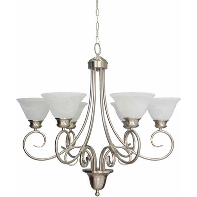 Troy 6-Light Shaded Chandelier Finish: Brushed Nickel