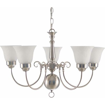 Minster 5-Light Shaded Chandelier Finish: Brushed Nickel