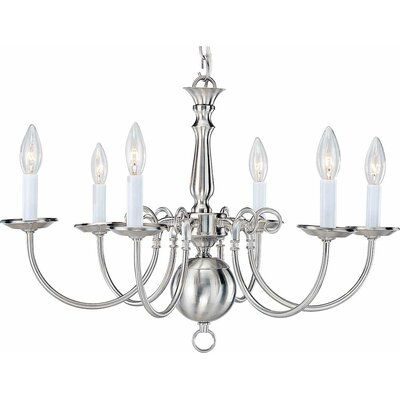 6-Light Candle-Style Chandelier Finish: Brushed Nickel