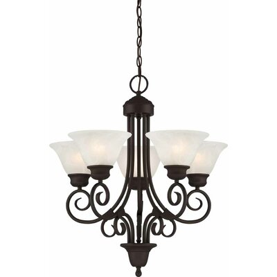 Troy 5-Light Shaded Chandelier Finish: Antique Bronze