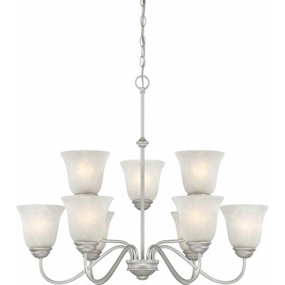 Kim Contemporary 9-Light Shaded Chandelier Finish: Nickel