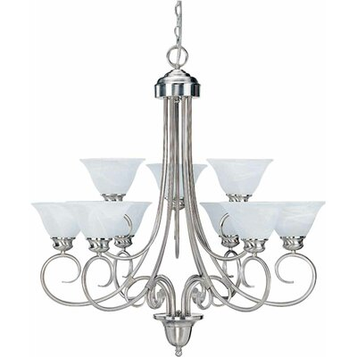 Troy 9-Light Shaded Chandelier Finish: Brushed Nickel