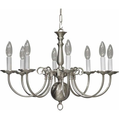 8-Light Candle-Style Chandelier Finish: Brushed Nickel