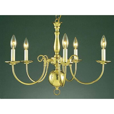 Ballenton 5-Light Candle-Style Chandelier Finish: Polished Brass