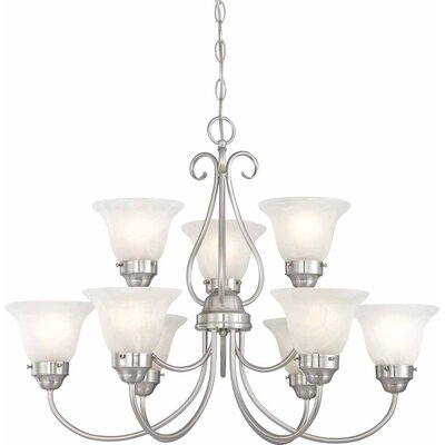 Minster 9-Light Shaded Chandelier Finish: Brushed Nickel