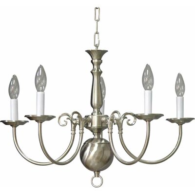 5-Light Candle-Style Chandelier Finish: Brushed Nickel