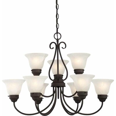 Minster 9-Light Shaded Chandelier Finish: Antique Bronze