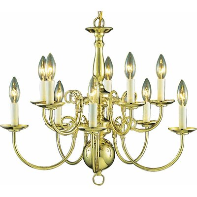 10-Light Candle-Style Chandelier Finish: Polished Brass