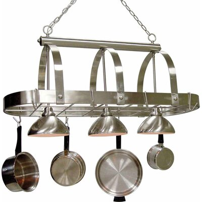 3-Light Pot Rack Finish: Brushed Nickel