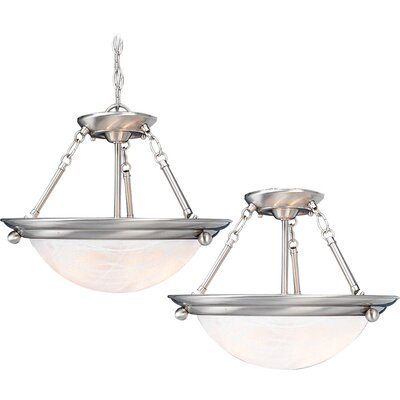 Lunar 2-Light Pendant or Semi Flush Mount Finish: Brushed Nickel