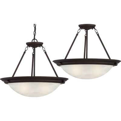 Lunar 4-Light Semi Flush Mount Fixture Finish: Antique Bronze, Bulb Type: Compact fluorescent (CFL)