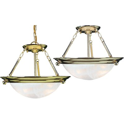 Lunar 2-Light Pendant or Semi Flush Mount Finish: Polished Brass