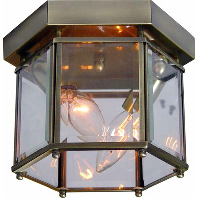 2-Light Ceiling Fixture Flush Mount Finish: Antique Brass