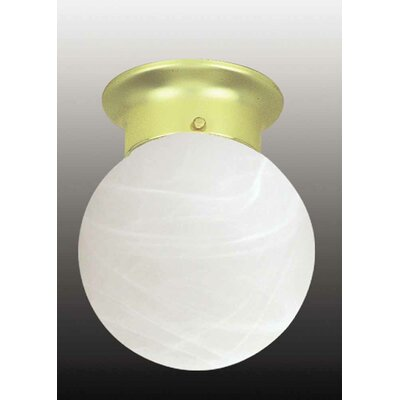 Emington 1-Light Sphere Ceiling Fixture Flush Mount Finish: Polished Brass