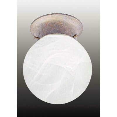 Emington 1-Light Sphere Ceiling Fixture Flush Mount Finish: Prairie Rock
