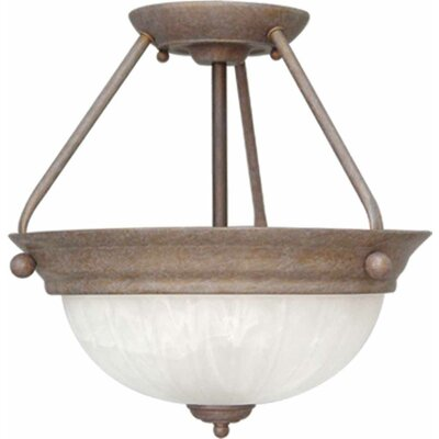 Emington 2-Light Semi Flush Mount Finish: Prairie Rock