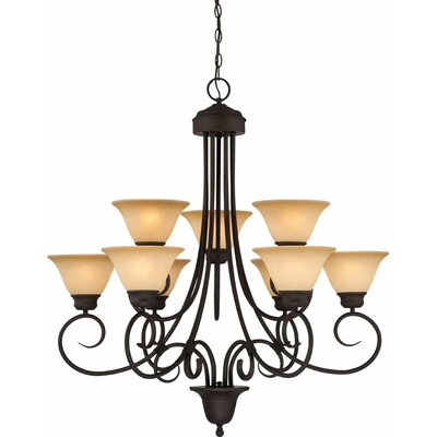 Troy 9-Light Shaded Chandelier
