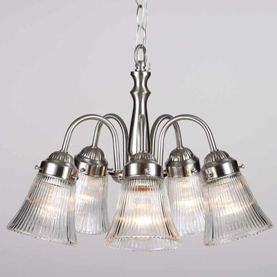 Emington 5-Light Clear Ribbed Shaded Chandelier