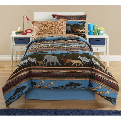 Kidz Mix Safari Reversible Bed-In-A-Bag Set Size: Twin