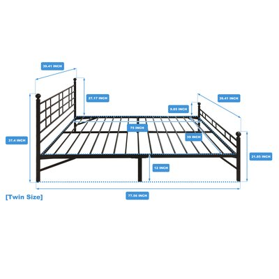 Model H Platform Bed Frame Size: Twin