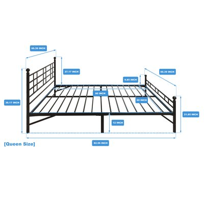 Model H Platform Bed Frame Size: Queen