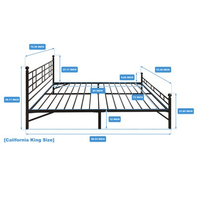 Model H Platform Bed Frame Size: Cal King