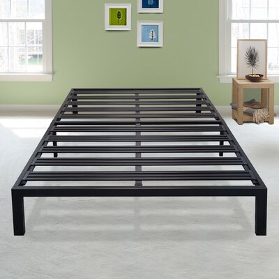 Branson Black Metal Platform Bed Frame Size: Queen