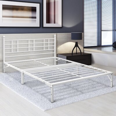 Steel Platform Bed Frame with Finial D�cor Knobs Size: Queen, Color: White