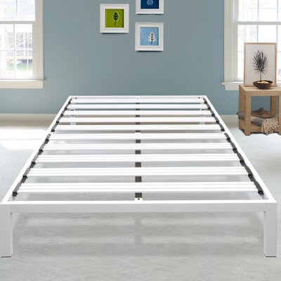 Hulme White Metal Platform Bed Frame Size: Queen