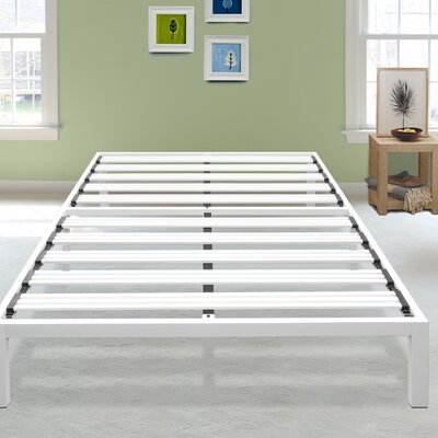 Hukill White Metal Platform Bed Frame Size: Twin