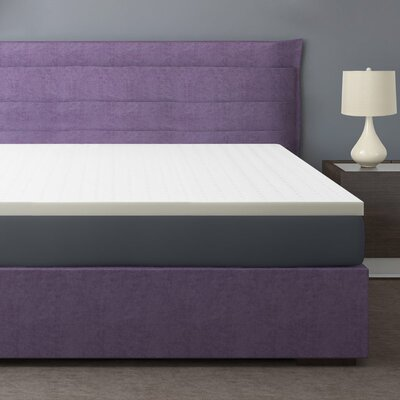 2 Memory Foam Mattress Topper Color: White, Bed Size: King
