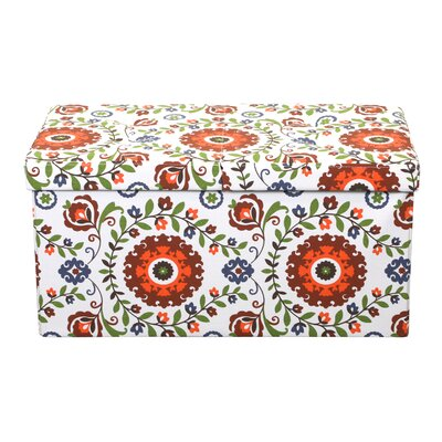 Tannen Smart Lift Top Storage Upholstered Ottoman Upholstery: Retro Floral, Size: 15 H x 30 W x 15 D