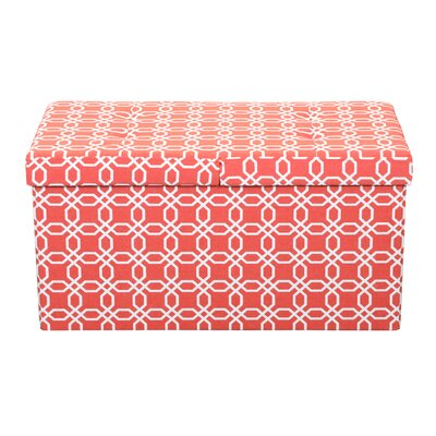 Providence Smart Lift Top Storage Upholstered Ottoman Upholstery: Octagon Orange, Size: 15 H x 30 W x 15 D