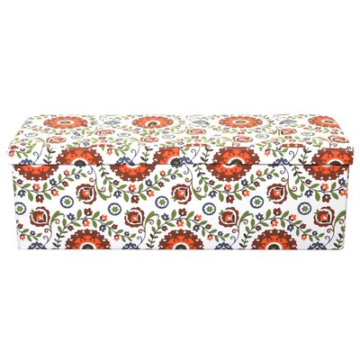 Tannen Smart Lift Top Storage Upholstered Ottoman Upholstery: Retro Floral, Size: 15 H x 45 W x 15 D