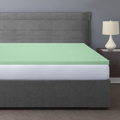 2 Memory Foam Mattress Topper Color: Green, Bed Size: Short Queen