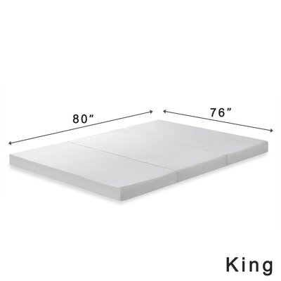 Gaertner 4 Tri-Fold Memory Foam Mattress Topper Size: King