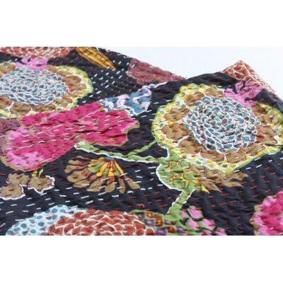 Handmade Kantha Cotton Throw Color: Black, Size: 90