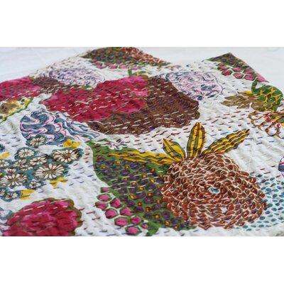 Handmade Kantha Cotton Throw Color: White, Size: 90
