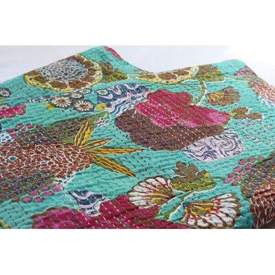 Handmade Kantha Cotton Throw Size: 90, Color: Light Green
