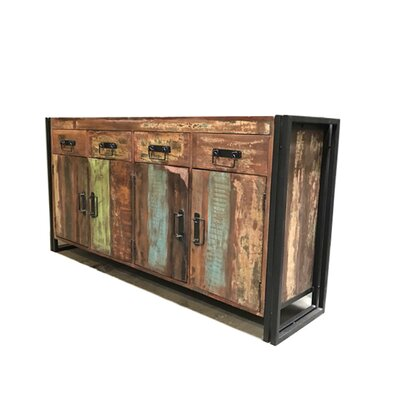 Old Reclaimed Wood and Iron 4 Door 4 Drawer Sideboard