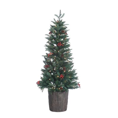HB 4' Prelit Mackenzie Ultra Real Porch Christmas Tree with 100 Ul Clear Lights with Pot