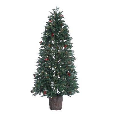 HB 6' Prelit Mackenzie Ultra Real Porch Christmas Tree with 200 Ul Clear Lights with Pot