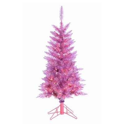 4' Slim Pink Tiffany Tinsel Christmas Tree with 150 Ul Clear Lights with Stand