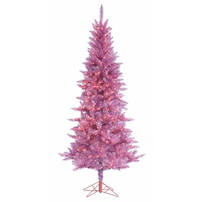 7.5' Slim Pink Tiffany Tinsel Christmas Tree with 450 Ul Clear Lights with Stand