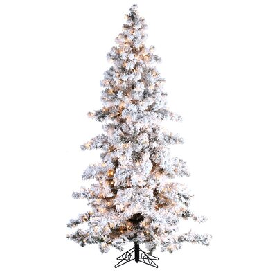 Pre-Lit Palm Tree 9' White/Green Spruce Artificial Christmas Tree with 750 Clear & White Lights with Flocked and Stand