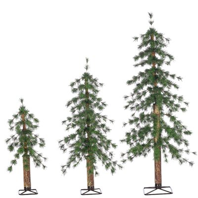 UnLit Alpine 3 Piece Green Pine Artificial Christmas Tree Set with Stand 5417--234