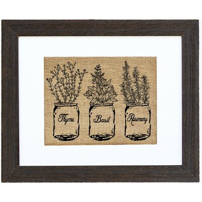 'Ball Jar of Kitchen Herbs' Framed Graphic Art