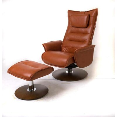 Trento Leather Manual Swivel Recliner with Ottoman Upholstery: Tan