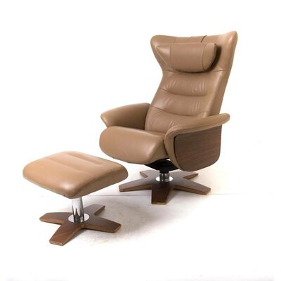 Verra Leather Recliner and Ottoman Upholstery: Beige