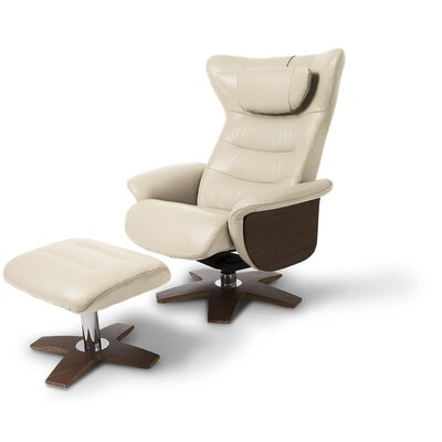 Verra Leather Manual Swivel Recliner with Ottoman Upholstery: Ivory Pearl